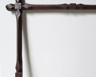 Excellent Hand Carved, Wooden, Tramp Art, Folk Art, Solid Walnut Frame, Wonderful Workmanship, c.1910, OOAK, Original Patina
