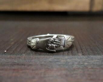 Art Deco Fede Gimmel Ring Sterling size 5.5 c. 1920
