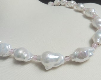 Pearl necklace,pearl jewelry,baroque white pearls,genuine freshwater pearls,statement necklace,pearl necklace,pearl and rose quartz necklace