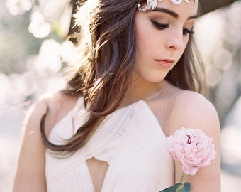 Intricate Floral Lace and Crystal Bridal Headpiece #308HP