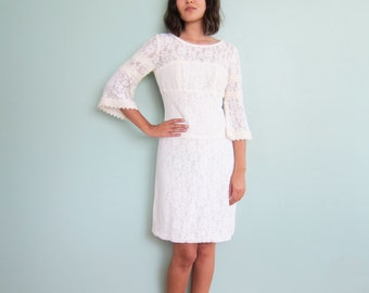 60s Dress / White Lace 60s Mini Dress / Bell Sleeve Dress / Bohemian Wedding Dress