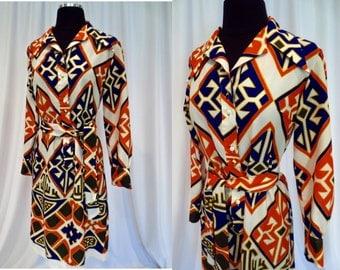 Bold Geometric 1970's Print Dress 'Lanvin - Paris New York' Label Sz. 10 - M
