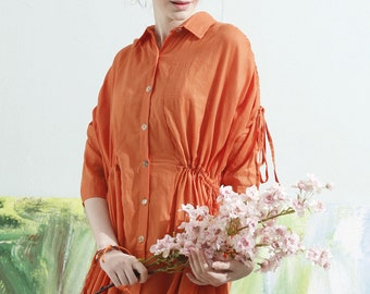 linen shirtwaist dress, oversized linen kimono, linen blouse dress, plus size dress, orange dress, oversize linen kaftan, linen jacket