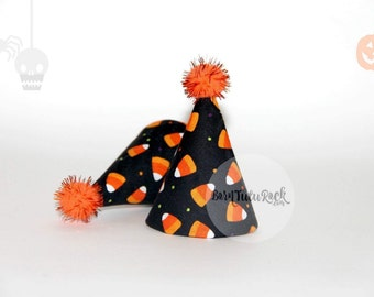 Candy Corn Party Hat // Halloween Birthday Hat // Mini Party Hat // by Born TuTu Rock