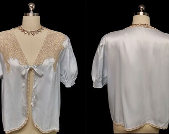 Vintage 30s 40s Baby Blue Satin Ecru Lace Bed Jacket Puff Sleeves Size Large satin bed jacket lace bed jacket blue bed jacket antique robe