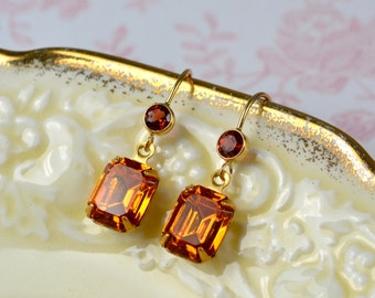 Golden Earrings, Vintage Glass Earrings, Golden Topaz Autumn Jewellery, Garnet Earrings, 14k Gold Fill Earrings, Bead, Wife Gift for Women