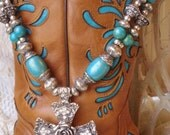 Southwestern Necklace Chunky Turquoise Silver Beads Magnetic Cross Pendant Cowgirl Western
