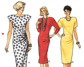 "Hard-to-Find 1985 Vintage Vogue 9517, Tapered Dress, Loose Bust, Close-fitting Hips, Side Drape, Cap, Short or Dolman Sleeves, Bust 32 1/2"""