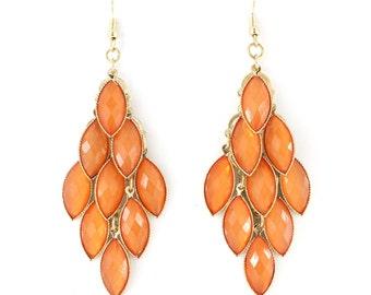 Shiny Gold-tone Bright Orange Beads Chandelier Dangle Drop Earrings,B17