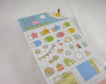 San-x Schedule Sticker Sheet Assort: SUMIKKO BLUE - Masking Material Writable Removable - Star Tapioca Box Shapes Everyday Activities Busy R