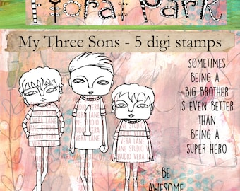 REDUCED!! My Three Sons -- three stair-step brothers and two sentiments digi stamp set
