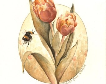 The Pollination Print 8x10 - illustration, painting, watercolor, nature, wildlife, bumble bee, tulip, spring floral, nursery, children's art