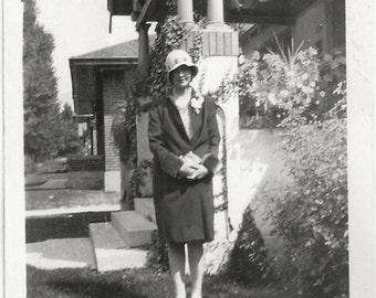 Old  Photo Teen Girl Coat Cloche Hat 1920s Photograph snapshot vintage