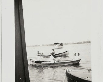 Old Photo People in Boats on Lake Ferry Boat Dock 1930s Photograph snapshot vintage
