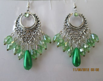 silver Chandelier Earrings with Green Beads and a Green Teardrop Pearl Dangles