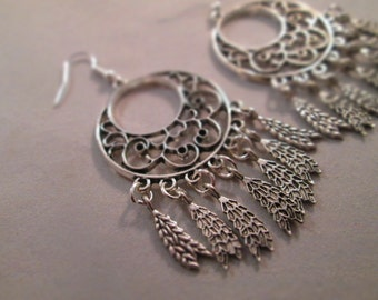Silver Crescent Chandelier Earrings with Silver Feather Dangles