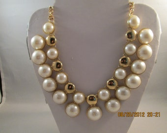 SALE Gold Tone and White Pearl Pendant Bib Necklace on a Gold Tone Chain