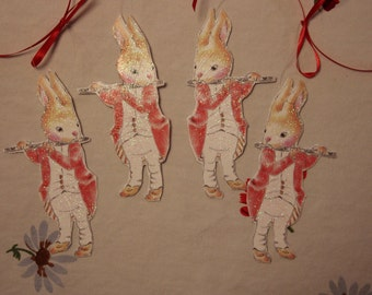 Flute Bunny ornament, gift tag, Bunny party decoration