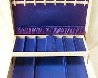 Vintage Jewelry Box.Off-White Jewelry Box.Shabby Chic Jewelry Box.Large Jewelry Box.Vintage Dresser Decor.2 Tier Jewelry Box.Dresser Box.