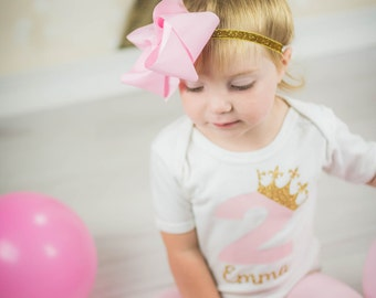 Birthday Girl Princess 1st, 2nd, 3rd 4th Birthday Outfit Pink Gold Crown First Birthday, Second Birthday, Third Birthday, Fourth Birthday