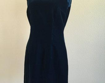 60s Simple Midnight Blue Velvet Sleeveless Party Dress