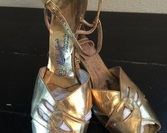30s Gold Peep Toe Party Shoes