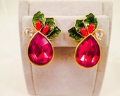 Avon Christmas Earrings Red Rhinestone Holly Berry Enamel Red Green Gold  Holiday Costume Jewelry Vintage