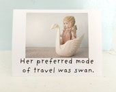 Funny Doll Swan Boat Card Claudia Stationary Notecard Typographic Dolly Photo