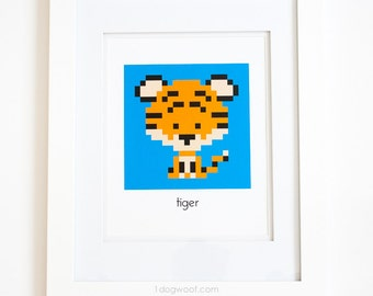 Zoodiacs Tiger Pixel Graphic Print, Blue Background