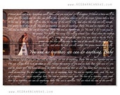 Wedding Photo on Canvas with Song Lyrics, You and Me, Dave Matthews Band, First Dance, Wedding Gift for the newlyweds,