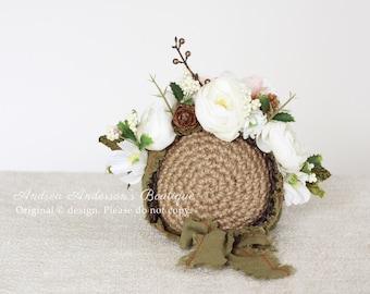 Baby Girls Flower Bonnet Hat Girls Baby Hat Christmas Baby Photo Prop Crochet Hat Baby Girls Props Sitter Floral Photography prop UK Seller