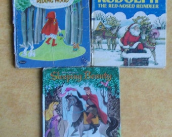 Vintage Children's Books - 3 Whitman Books, 1950s Books, Little Red Riding Hood, Sleeping Beauty, Rudolph The Red-Nose Reindeer