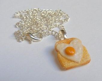 Food Jewelry, Egg on Toast Necklace, Miniature Food Pendant, Mini Food Jewelry, Egg Jewelry, Dolls house food, Kawaii Necklace, Egg Charm