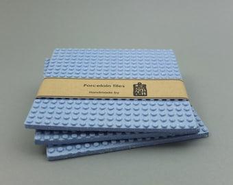 Blue porcelain coaster, modern coaster, large coaster, contemporary ceramics, porcelain tiles, ceramic tiles,5.30 x 5.30 inches