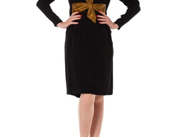 1960s Black Long Sleeve Bow Waist Shift Dress SIZE: XS, 2