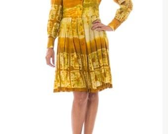 1970s Ethnic Silk Batik Pleated Button Down Dress Size: S