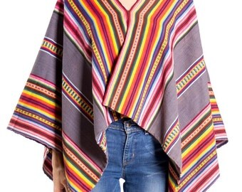 1960s Vintage Mexican Striped Woven Blanket Poncho