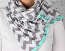SUMMER SALE! Multi Use Scarf with Snaps Gray Chevron, Hold Me close Nursing Scarf, Workout Scarf, infinity scarf