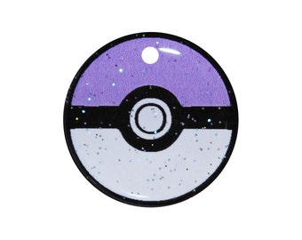 Lilac Purple Pokemon Pokeball Pet ID Tag - 3 Sizes in Metal or Resin - Cute Personalized Tag For Cats or Dogs -  Back w/ Pets Info - Kawaii