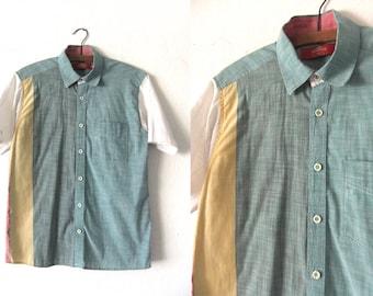Color Block Button Down Shirt - 90s Pattern Block Short Sleeve Oxford Shirt - Mens Small / Medium