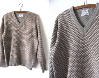 Neutral Colors Checked Mohair Blend Sweater - Minimalist Chic Preppy Ivy League Style Flecked Vintage Italian V Neck Sweater - Mens Medium