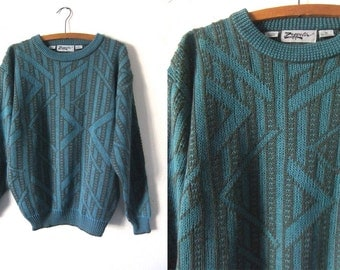 Teal and Gray Geometric Sweater - Surfer Style Slouchy fit Baggy Abstract Jumper - Mens Medium