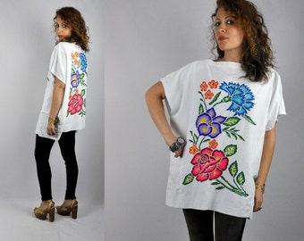 Mexican Embroidered Blouse / Mexican Blouse / Oversized Blouse Cross Stitches Blouse Back & Front Boho Gypsy Festival Summer OS - Free Size