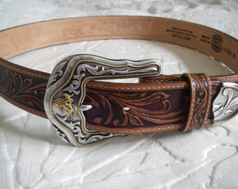 Western belt buckle 34'' with 100% hand tooled leather belt