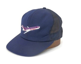 Vintage Federal Express  Cap w/ Embroidered Airplane Log Navy Blue Mesh Snap Back Made in the USA