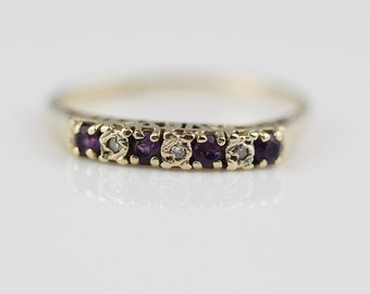 9ct Gold Ring Diamond and Amethyst Chip I Love You Forever Ring UK P US size 7.75