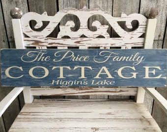 CUSTOM -CRACKLED- Cottage Sign (5.5in x 24in) - Home Decor - Perfect Gift