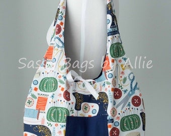 Reversible Tote Bag Scissors & Sewing-Retro Sewing Print with Navy Blue Lining-Fold Up Market Bag