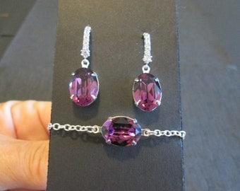 Amethyst  Crystal Bridesmaid Set/Swarovski Crystal/Purple Crystal Bracelet Set/Swarovski Bracelet/Swarovski  Earrings/Bridesmaid Bracelet