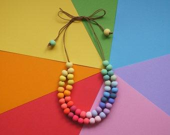 Rainbow Polymer Clay Beaded Double Strand Necklace - Adjustable Length, Handmade Beads